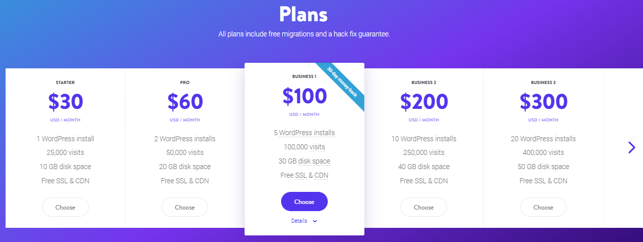 Kinsta WordPress Price Plans