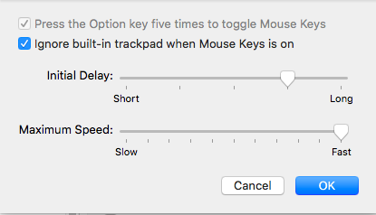 "Check the box next to ""Ignore built-in trackpad when Mouse Keys is on"" - Mac"