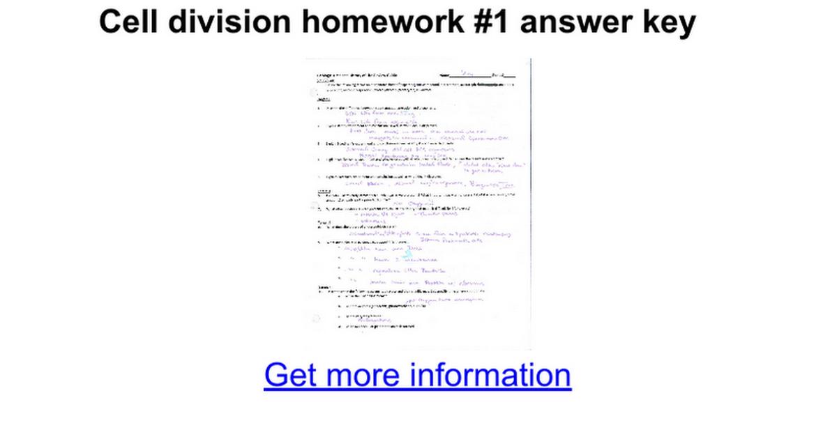 Cell division homework 1 answer key Google Docs – Meiosis Worksheet Answer Key