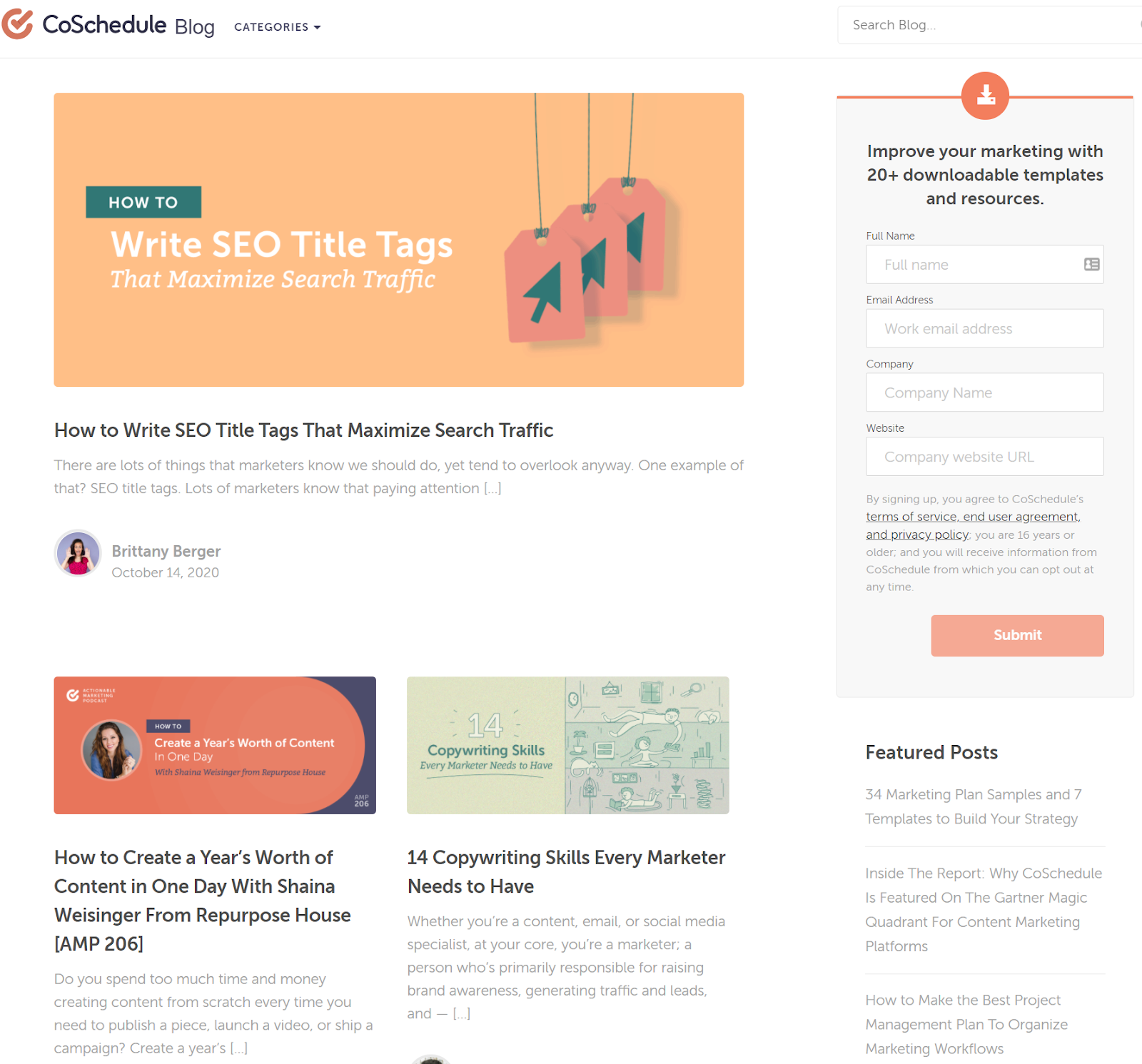 Screenshot of CoSchedule blog homepage as part of their creative marketing strategy.
