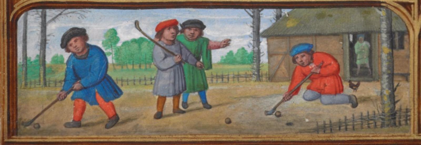 Ilustrácia zo stredovekého manuskriptu Book of Hours, nazývaného aj Golf Book (cca 1540).