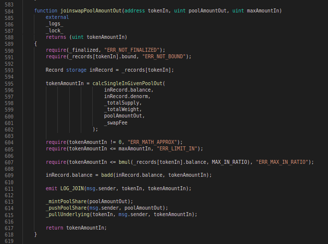Balancer Codeblock: joinswapPoolAmountOut function