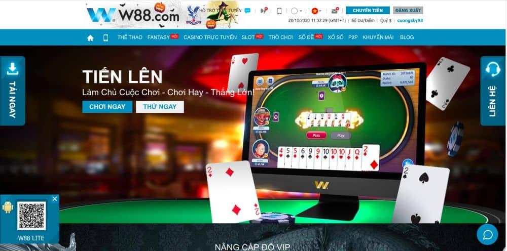 Tại nhà cái W88 có rất nhiều game casino hấp dẫn