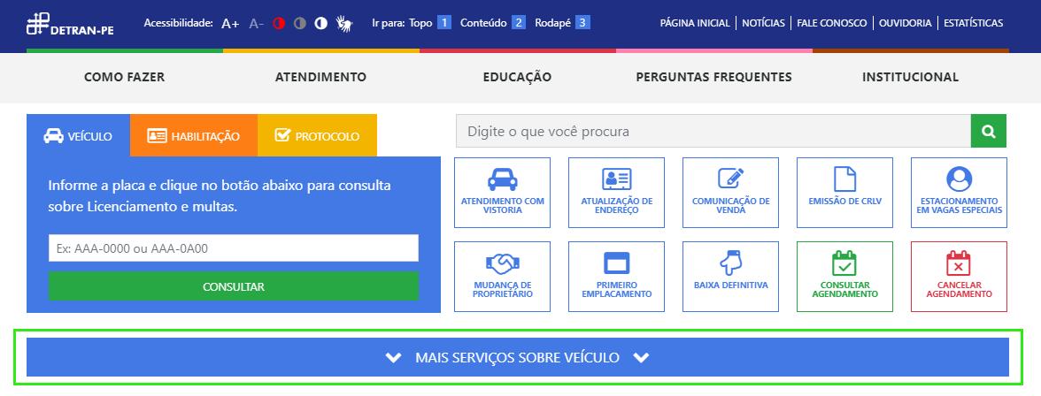 """Clique em """"Mais serviços sobre veículo"""" no site do Detran PE"""