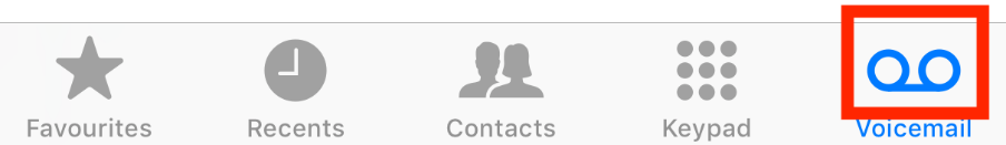 """Select the """"Voicemail"""" icon"""