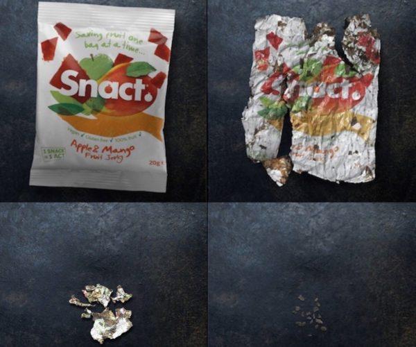 embalagem compacta se decompondo em nada