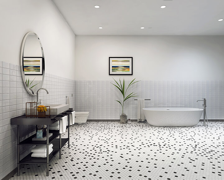 Bathroom with white hexagon mosaic tile flooring interspersed with black tiles