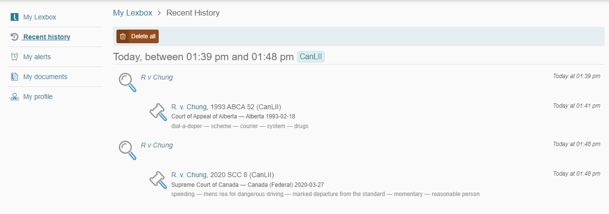 Screenshot displaying the 'recent history' page of a Lexbox account interface.