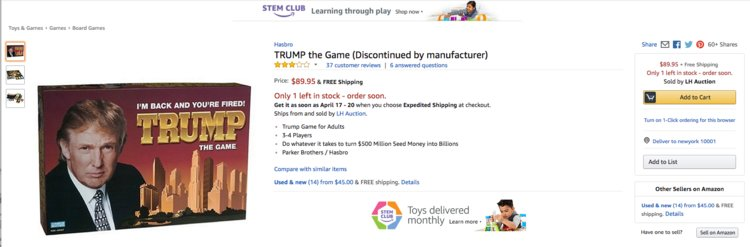 Trump: The Game, a Monopoly-style board game that was first released in 1989, was discontinued after selling only about 800,000 copies. Hasbro re-released the game in 2004 after the success of