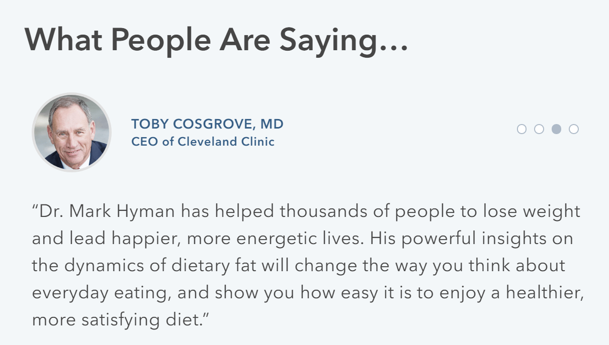 Dr. Hyman Customer Testimonial Featuring Dr. Toby Cosgrove