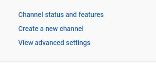 channel status and features of youtube