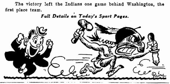 "On May 3, 1932, this small image appeared on the front page of the Plain Dealer. photo credit: Cleveland Plain Dealer via Belt Magazine June 19th, 2014, ""The Secret History of Chief Wahoo."" (http://beltmag.com/secret-history-chief-wahoo/)"