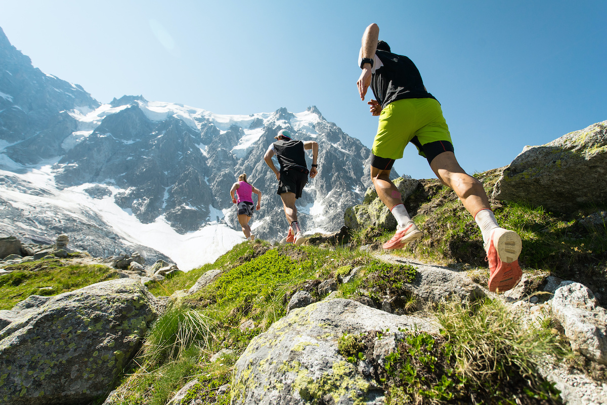 Fasted cardio: A group of trail runners on a mountain