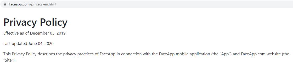 termo de uso faceapp