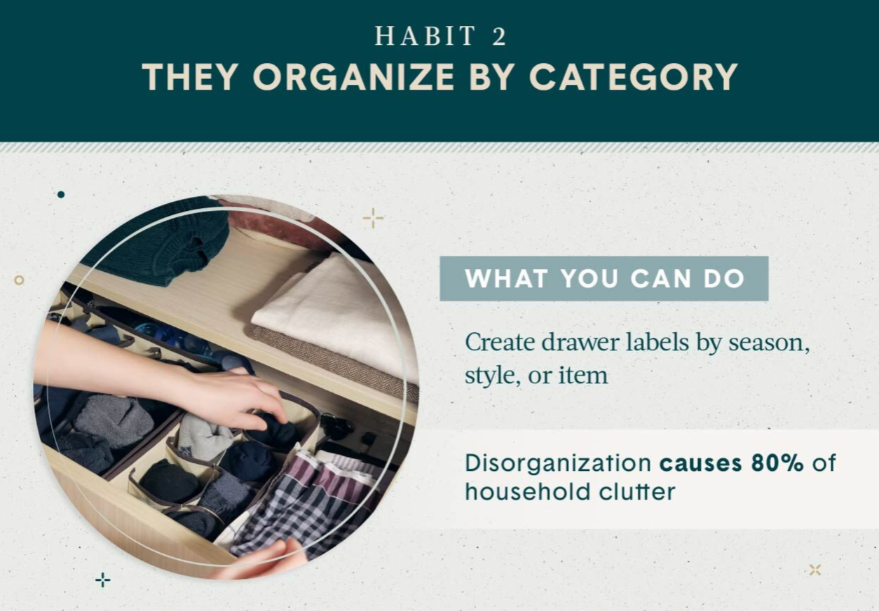 Home Organization habit 2 Organize by category shows drawers full of similar items like underwear and socks