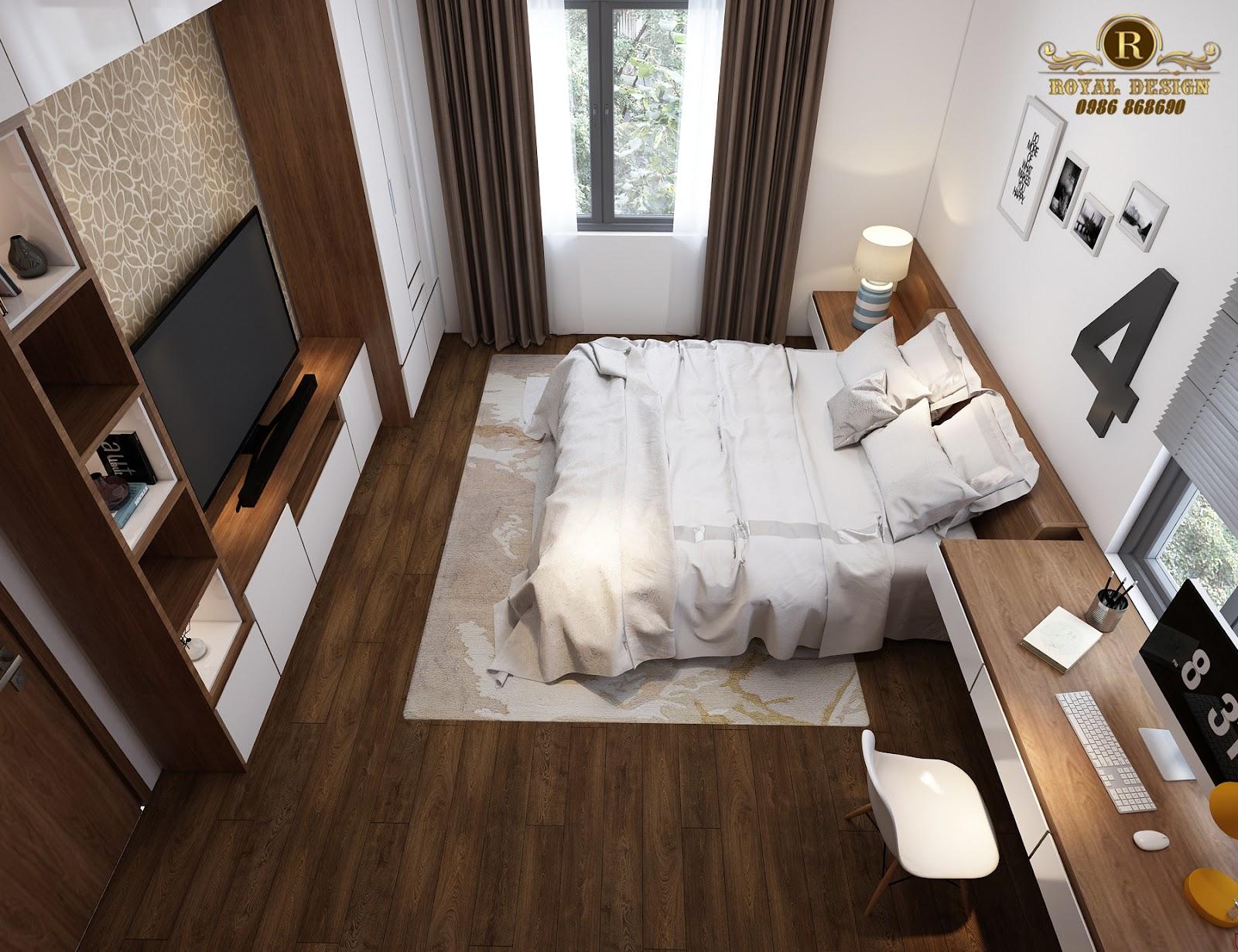 Phối cảnh 3D thiết kế nội thất tầng 2 phòng ngủ con02