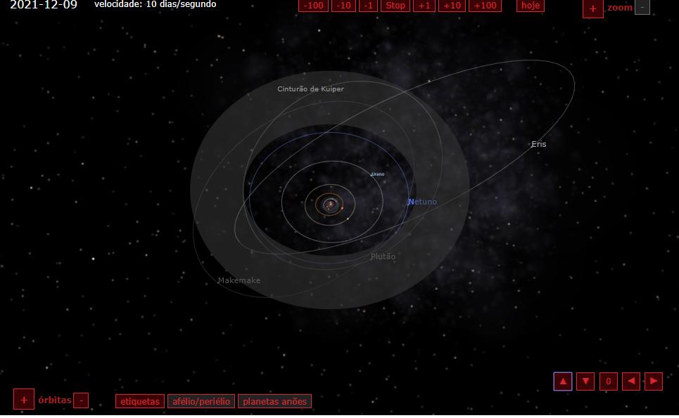 Revolução dos planetas do sistema solar. Reprodução/  Simulator 3D