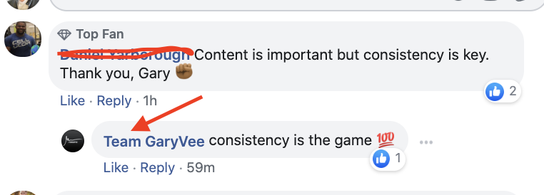 The garyvee team commenting