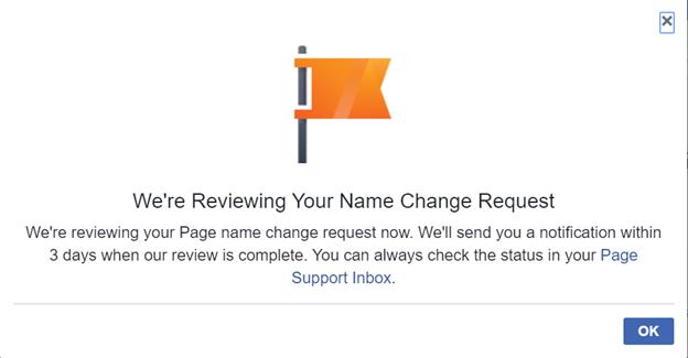 Xác nhận yêu cầu đổi tên trang Facebook
