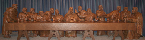 Last Supper wood sculpture at Trinity Heights Sioux City, Iowa