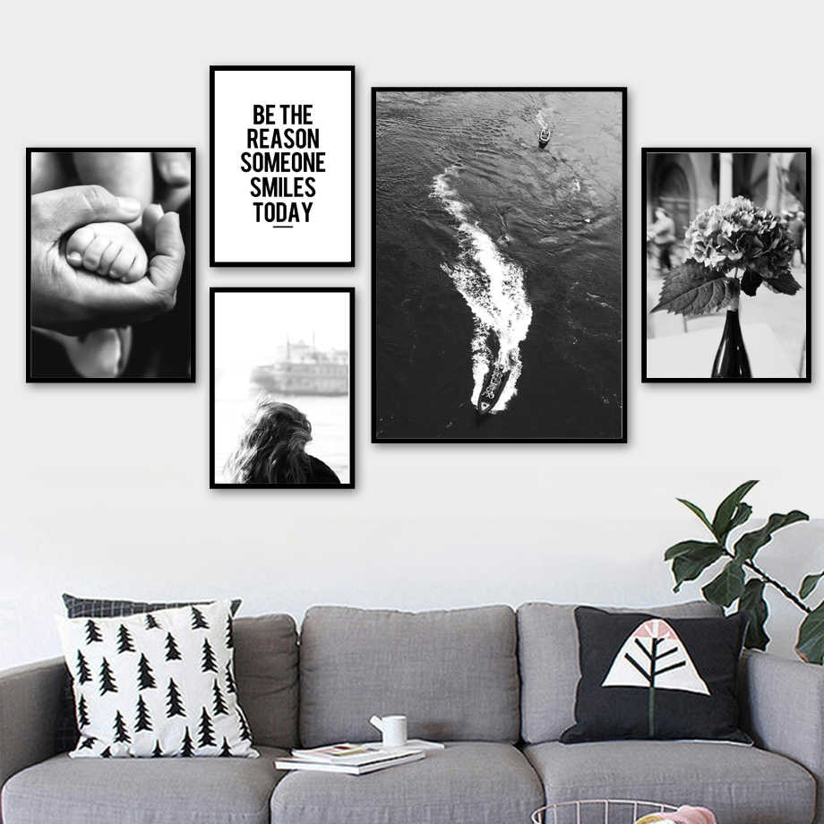 Black and White Picture Art Wall Ideas For The Living Room