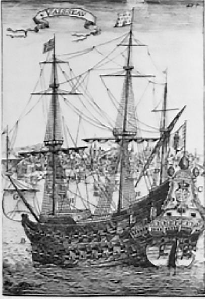 imagem do galeão Padre Eterno, o maior navio do mundo no século 17