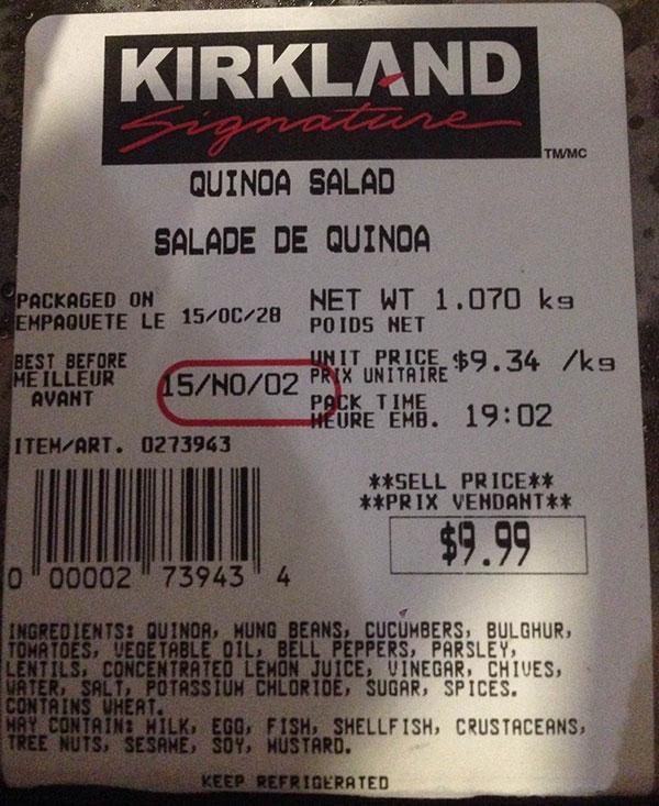 Kirkland Signature Quinoa Salad - 1.070 kilograms