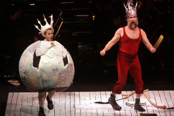 """Anthony Roth Costanzo, left, and Wilbur Pauley in """"Le Grand Macabre"""" at Lincoln Center in 2010."""
