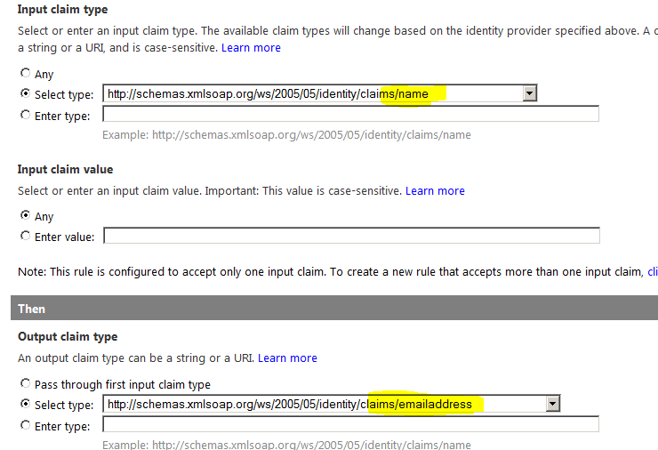 Input Claim TypeSettings