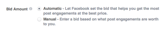 bid amount facebook ads.
