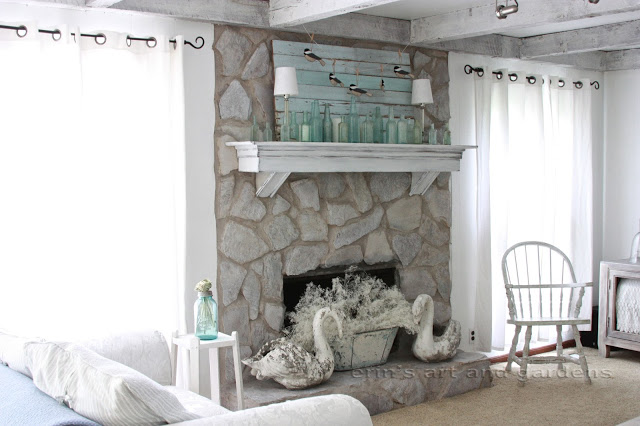 Stone Fireplace After Grey wash