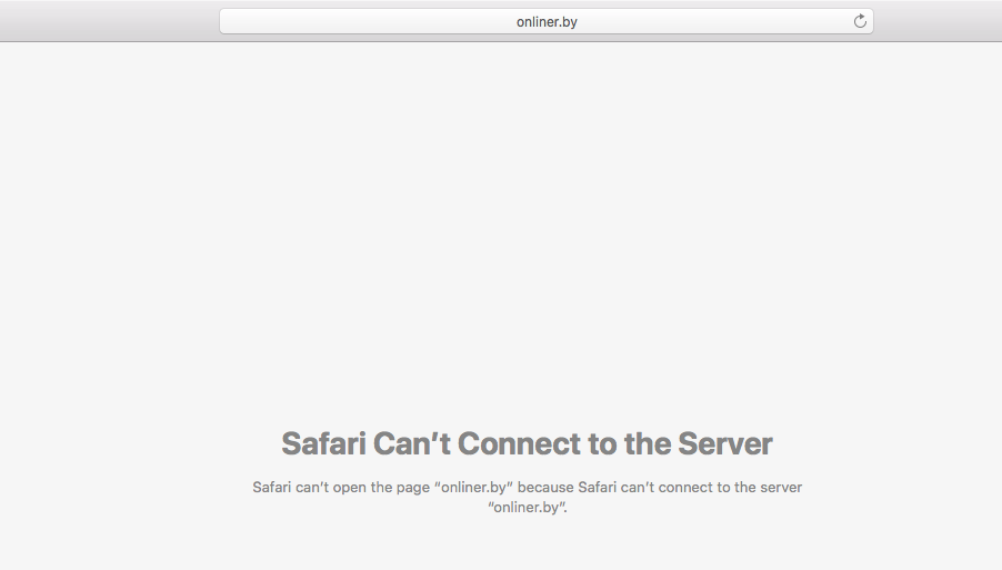 """Safari Can't Connect to the Server"" notice - Mac"