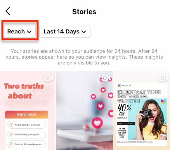 how to access 'reach' on instagram post insights