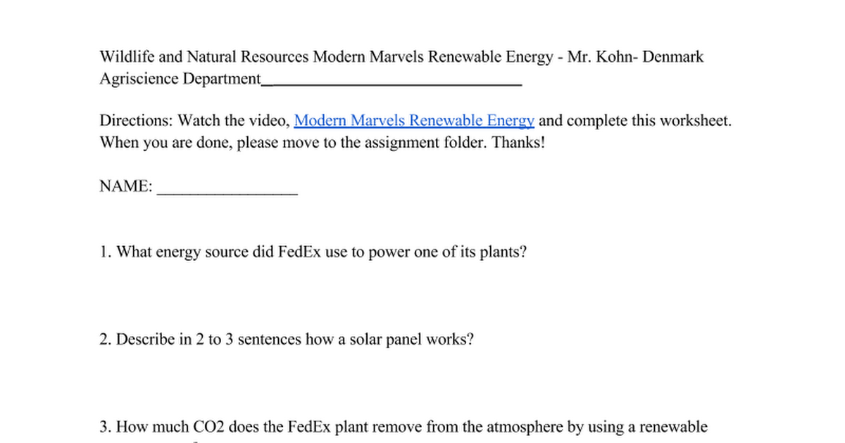 modern marvels renewable energy worksheet google docs. Black Bedroom Furniture Sets. Home Design Ideas