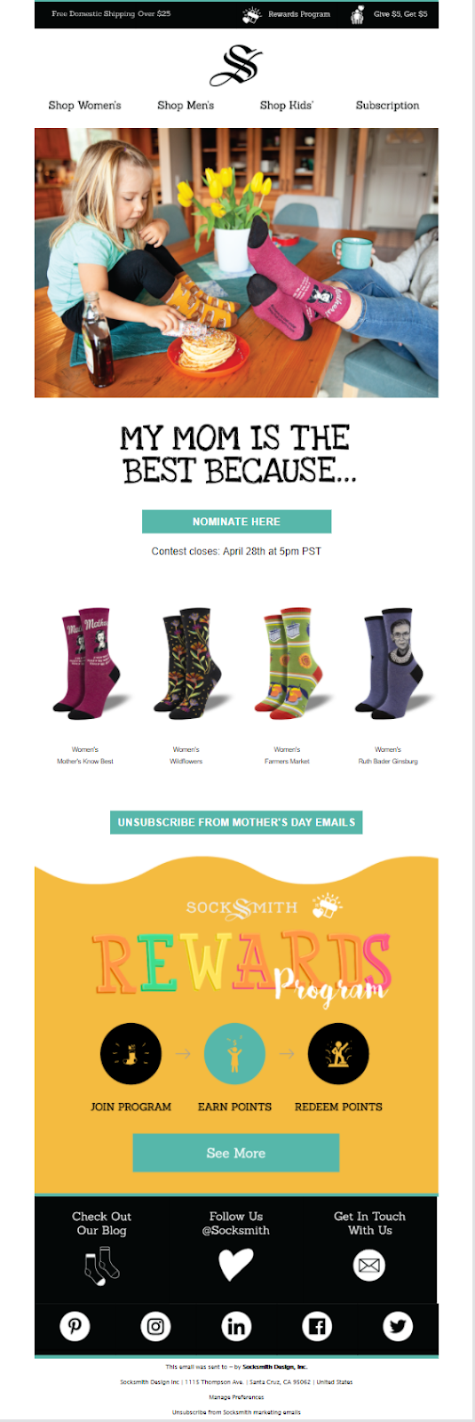 Socksmith email template