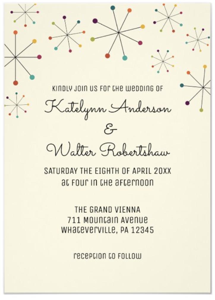 mid century modern wedding invitation