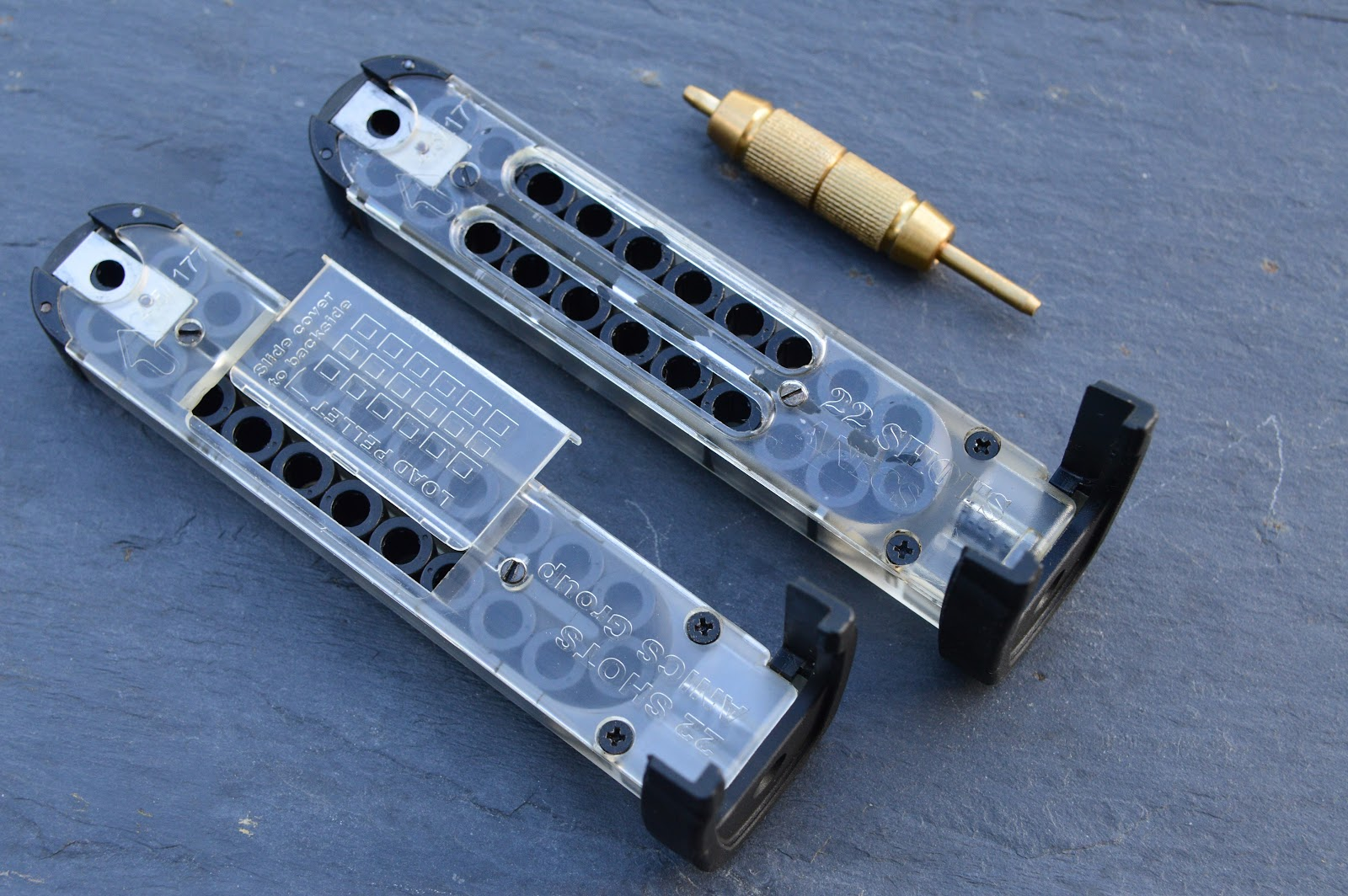 two versions of magazine, each with .22 pellet holders