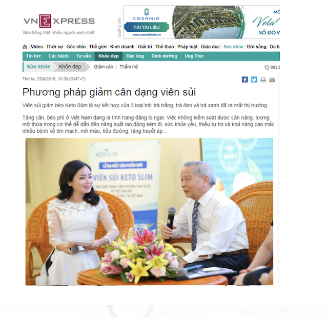 VN express Nhắc về Keto Slim