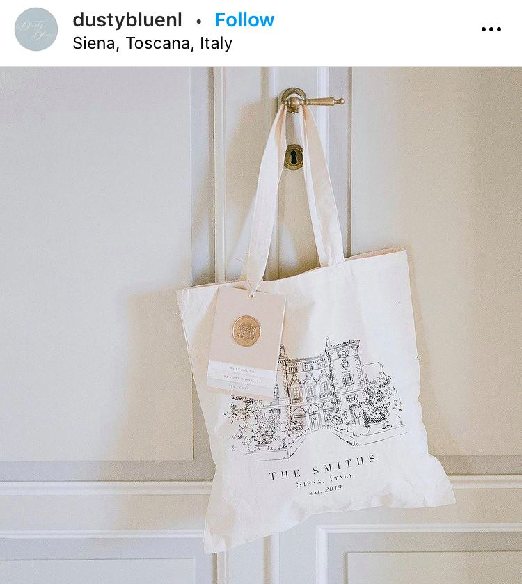 custom tote bag for wedding guests