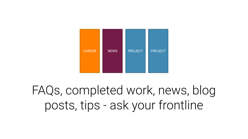 What nonprofits can blog about: FAQ's, completed work, news & updates, tips, and ask your frontline