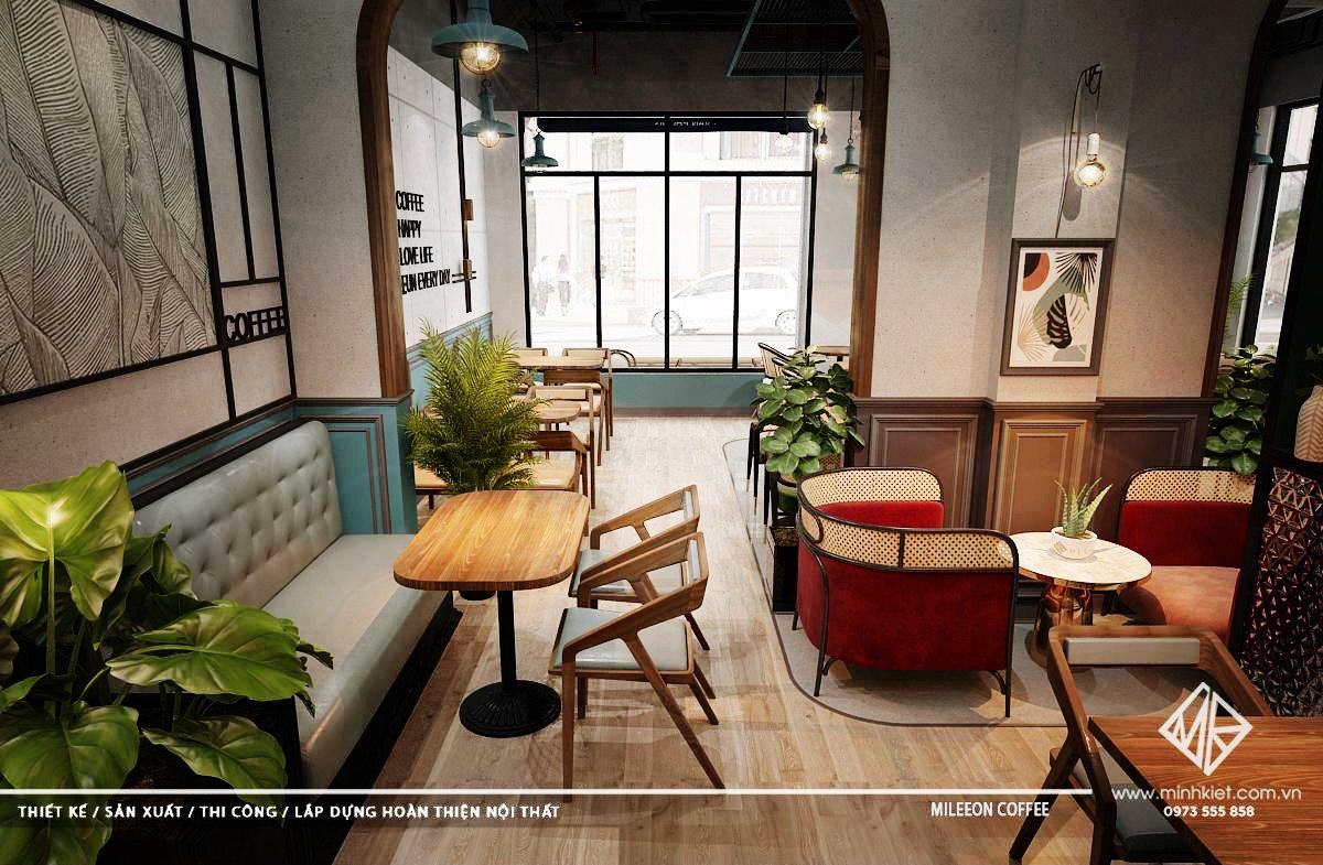 Thiết kế nội thất quán cafe đẹp sang trọng hiện đại 2021 trên 500 triệu