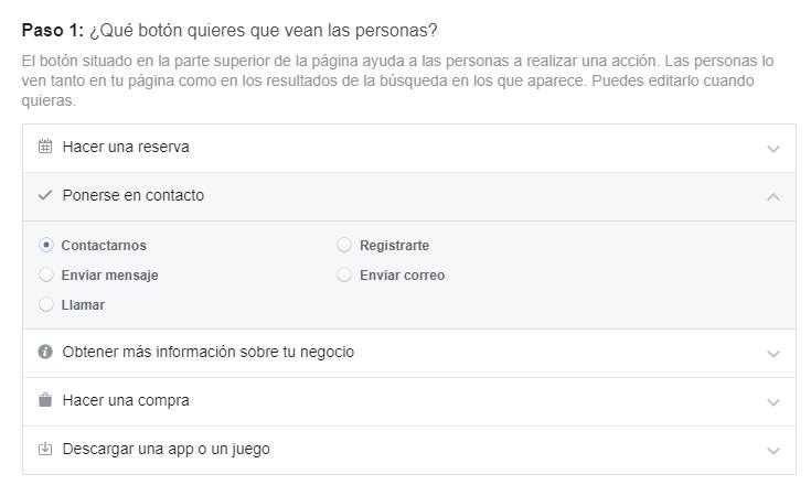 Paso 1, elige el tipo de botón para Facebook