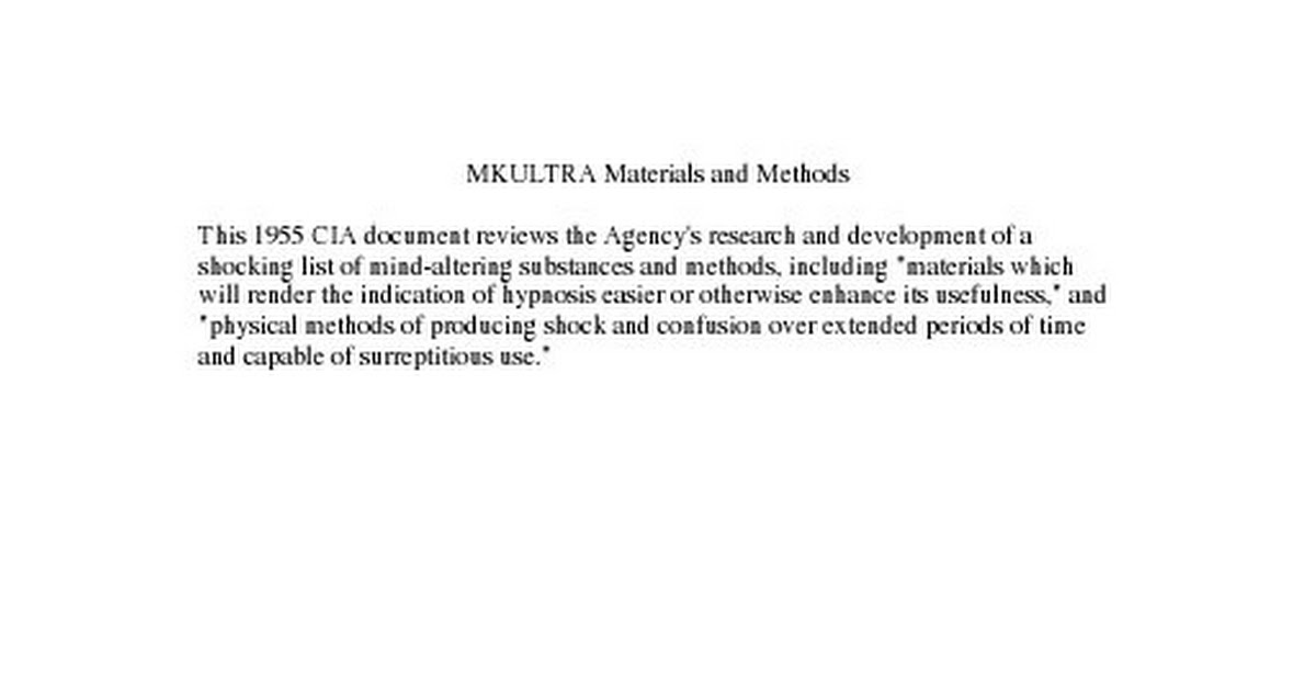 Cia - Files - Mkultra Materials And Methods pdf - Google Drive