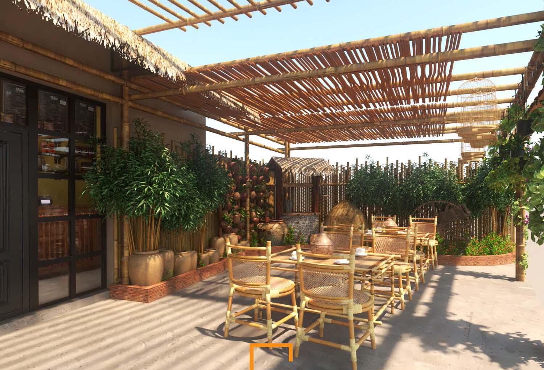 Thiết kế quán cafe sân vườn 80m2