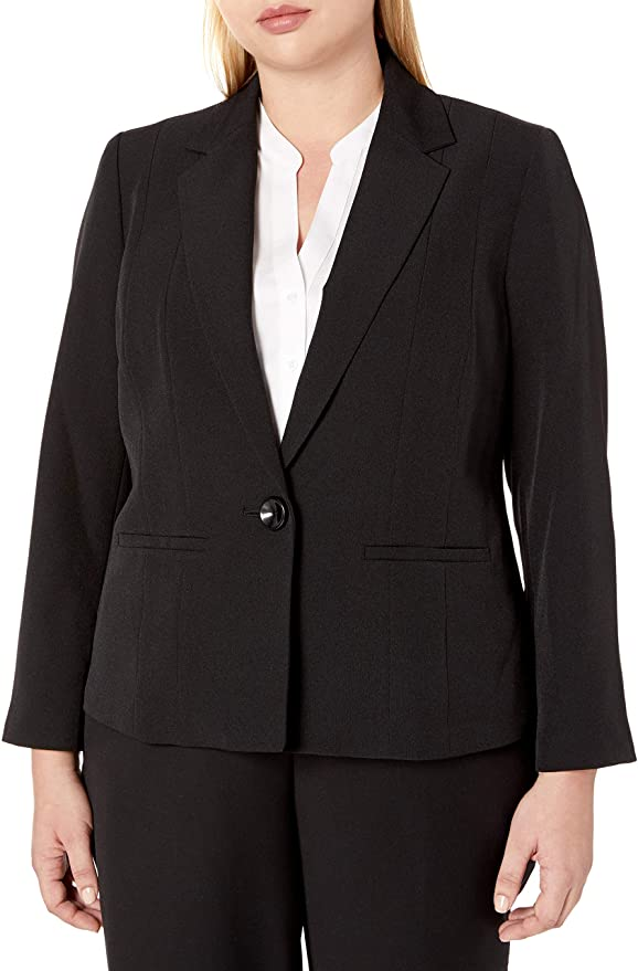 Kasper womens Plus Size Stretch Crepe One Button Jacket