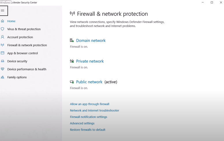 Firewall and network protection settings