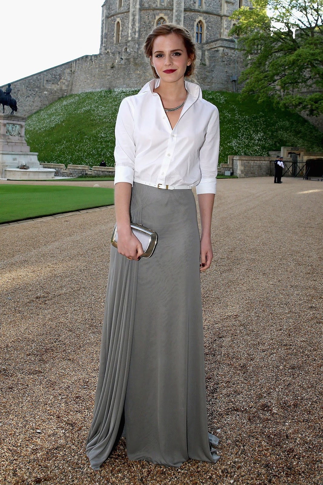 Emma Watson in White Top and Grey Skirt