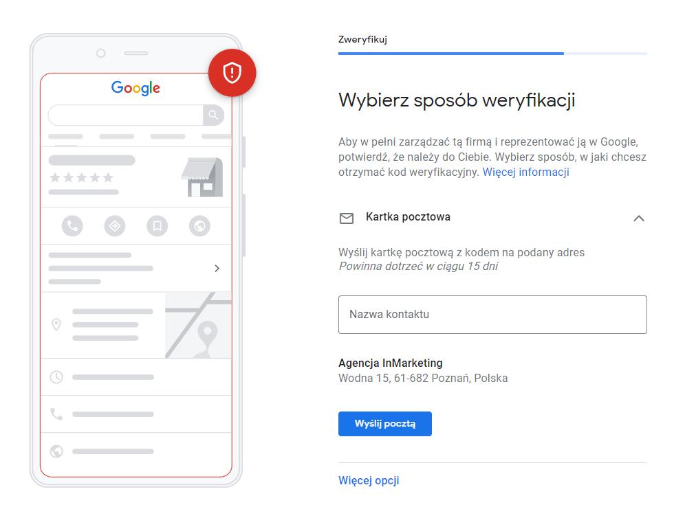 weryfikacja wizytówki google moja firma