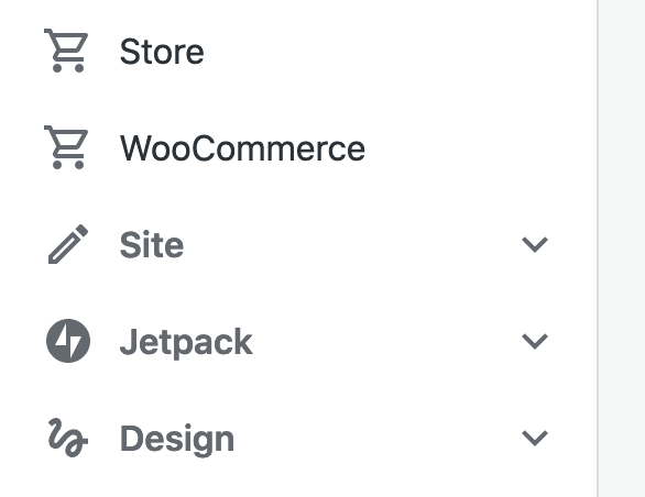 The WordPress.com sidebar menu, showing the new WooCommerce item under the existing Store item.