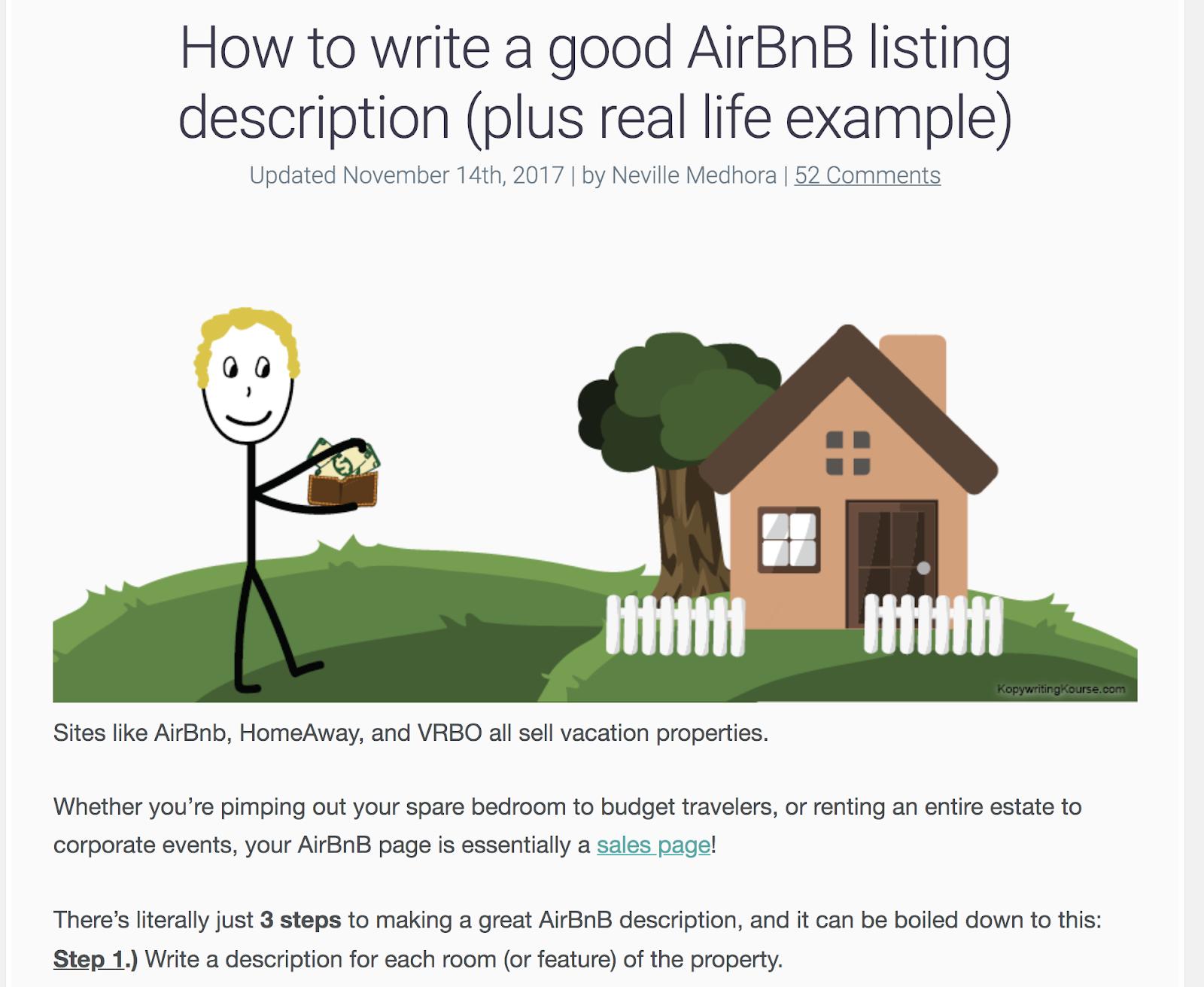 réécrire une proposition AirBnB